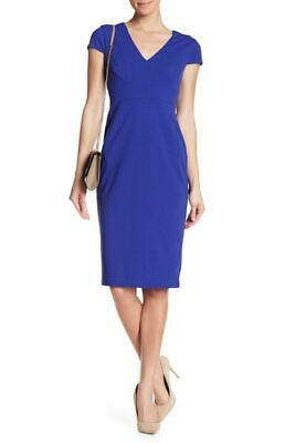 613ee55f NWT Donna Morgan Cap Sleeve Fitted Crepe Sheath Dress Cobalt Blue 14 $118