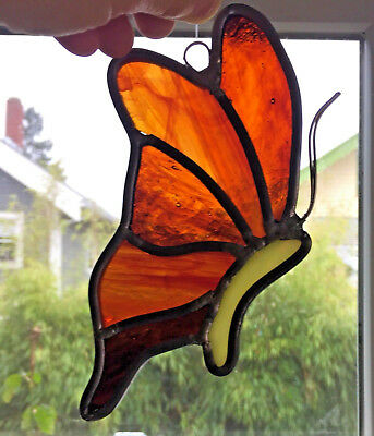 """VINTAGE Leaded Stained Glass Art BUTTERFLY SunCatcher 6.5"""" Insect Animal"""