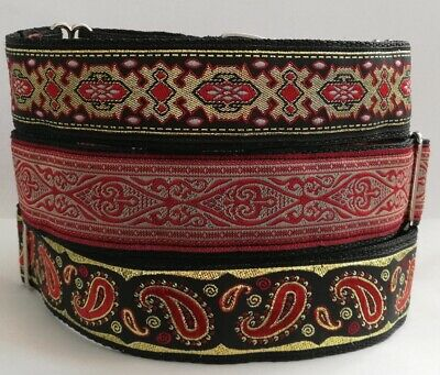 Martingale Dog Collar Red Gold Paisley Greyhound Lurcher Saluki Whippet Podenco