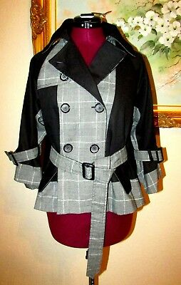Color-Block Plaid/Black Metallic Silver Cotton Double Breasted Lined Jacket Sz S