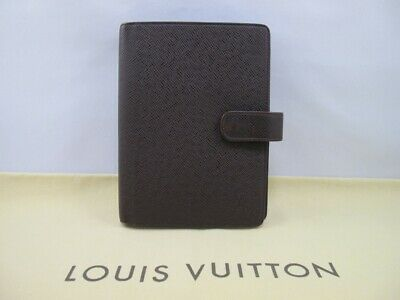 100% Authentic Louis Vuitton Taiga Leather Brown AGENDA MM DAY PLANNER COVER