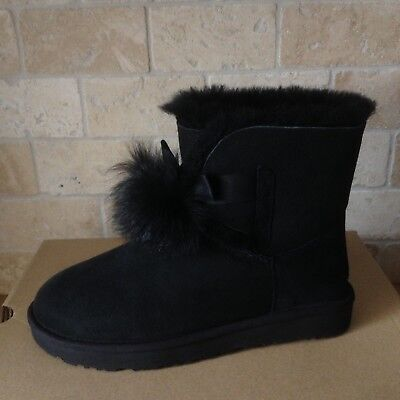 e07059ae1fc NEW UGG GITA black ankle boots leather pom pom shoes womens size 7 ...