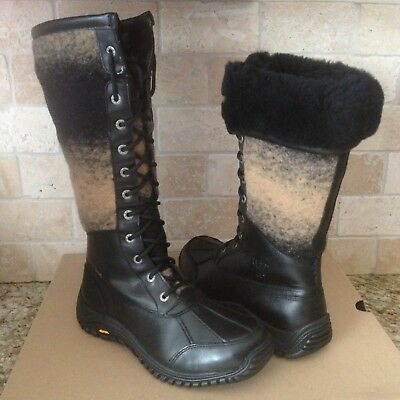 49ec4839a21 UGG $295 1013508 Adirondack Tall Black Women's Boots SZ 5 New In Box ...