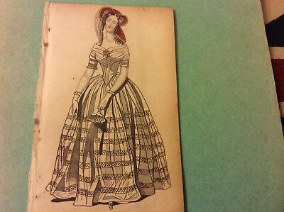 Antique Fashion Showing A Victorian Lady Wearing An Evening Dress