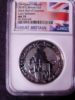 2018 Great Britain 2oz Silver Queens Beast Black Bull NGC MS70 ER - Flag Label