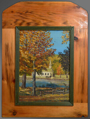 Canadian Signed Original Oil Ontario Church Autumn Landscape