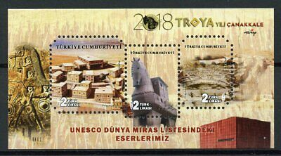 Turkey 2018 MNH Troya UNESCO World Heritage 3v M/S Architecture Tourism Stamps