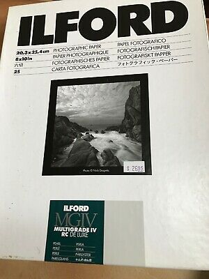 Ilford Multigrade IV Resin Coated RC DE LUXE 8x10 Paper 17 Sheets Pearl 1168310