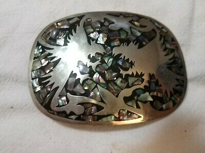 Vintage 1970s Handmade Alpaca Mexico Abalone Inlay Sterling Silver Belt Buckle