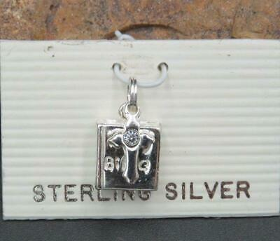 New w Tags Sterling Silver Cubic Zirconia Religious Bible Cross Charm Pendant