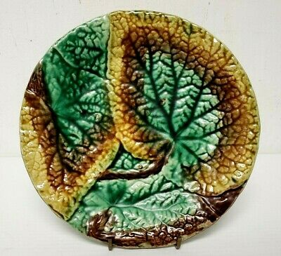 """MAJOLICA 19th Century Marked 33 BEGONIA Overlapping LEAF PLATE 8 1/2"""" Great buy!"""