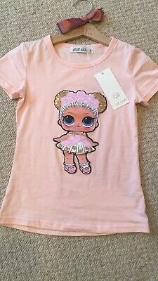 Girls LOL Surprise Doll Sequin T Shirt Short Sleeved Children Boutique Top