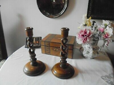 Antique Pair Of Wooden Oak Open Barley Twist Candlesticks