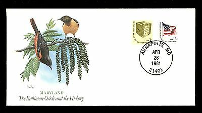 Commemorative Cover State Songbirds Maryland MD Baltimore Oriole Hickory