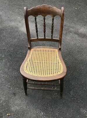 Antique 1800s Cane Seat Bottom Pristine Spindle Back Chair Oak/Mahogany