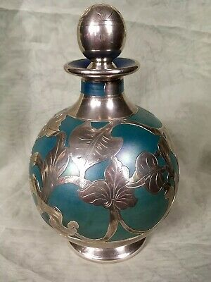 Vintage Iridescent Glass Sterling Silver Overlay Decanter