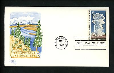 US FDC Colonial Cachet #1453 National Parks Centennial Yellowstone WY 1972