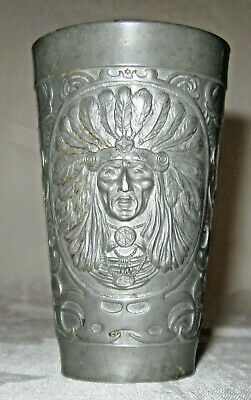 Magnificent Indian Chief Pewter Cup, Late 1800s-Early 1900s Gesch Germany