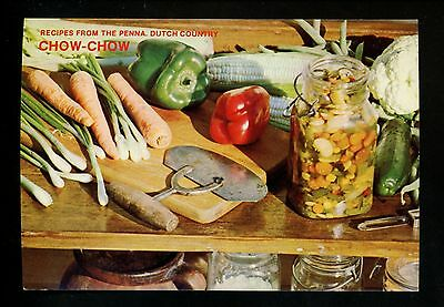 Recipe US postcard Dutch Country PA, Vegetable Chow Chow