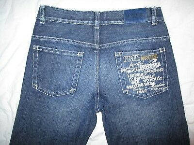 MOSCHINO Teen Designer Embroidered Pocket Blue Jeans Italy 10 Years W25 L25.5