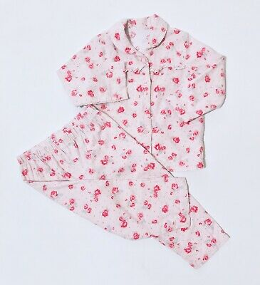 George Baby Girls Pink Floral Pyjamas 18-24 Months Top And Bottoms Vintage Style