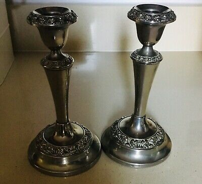 Pair Of Vintage Lathen Silver Plated Candle Sticks