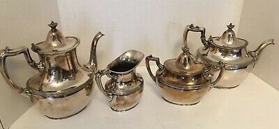 Vintage Silver Plate Coffee Tea 4 Piece Set MERIDEN Co. Rogers Bros. Made in USA