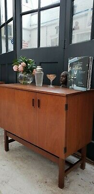 Mirrored Cocktail Bar Cabinet Mid Century Sideboard Teak Vintage DELIVERY