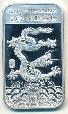 2012 Year Of The Dragon One Troy Ounce Silver Bar .999-Beautiful! Ships Free!