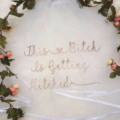 Personalised Veil Wedding Hen Party Glitter Sparkle Bride Bitch Getting Hitched