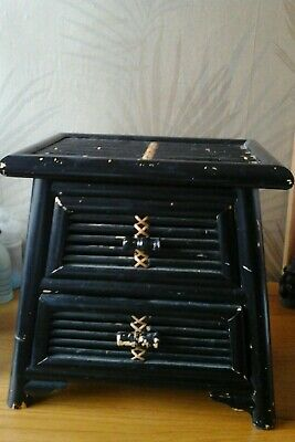 antique japanese black lacquered bamboo stand / two draw cupboard.