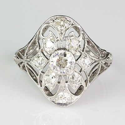 Art Deco Platinum Diamond Ring 1.20ctw Gorgeous Openwork Design Quality ER806