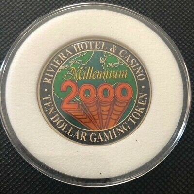 Riviera Hotel and Casino $10 Gaming Token Millennium 2000 Map of the World