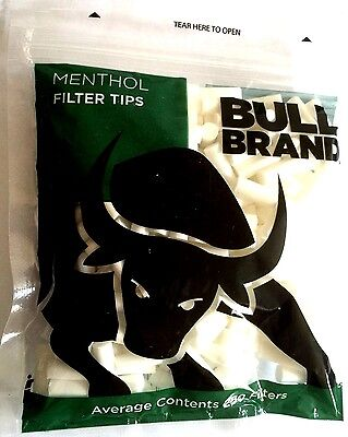 4 x BULL BRAND 6mm MENTHOL FILTER TIPS Resealable Bag Cigarette Tobacco Rolling