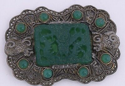 Antique Chinese Export sterling Silver fine Pin Brooch carved Green glass signed