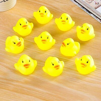 10pcs bebe baño bañera Toys Mini Rubber float pato amarillo chillon regalos OE