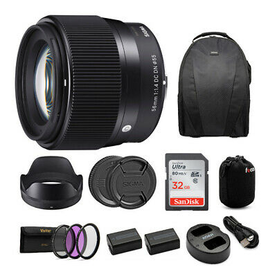 Sigma 56mm f/1.4 DC DN Contemporary Lens for Sony E-Mount Cameras Bundle