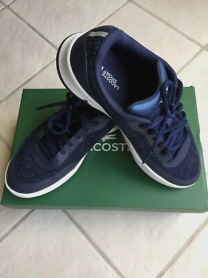 924bc81067f LACOSTE WOMENS SIZE 7 Tennis Shoes Walking Sports Navy Blue Glitter Diva  Laces