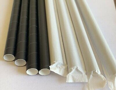 """Disposable Paper Straws Black  Colossal 12mm 10""""  - 2000 pcs"""