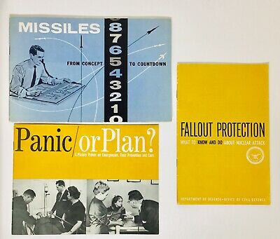 3 1950s-60s Cold War Era Civil Defense Nuclear War Civilian Fallout Booklets