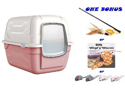 Pink Toilet Hooded Large Litter Tray Scoop Filter Covered Box Loo Toilet Train