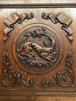 Exceptional French Gothic Dragon/Gargoyle Door panel in oak (nr2)
