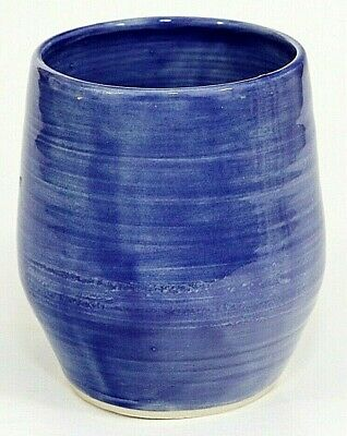 Hand-Thrown Studio Art Pottery Vase, Pen Holder Small, Blue Glaze, Signed H G