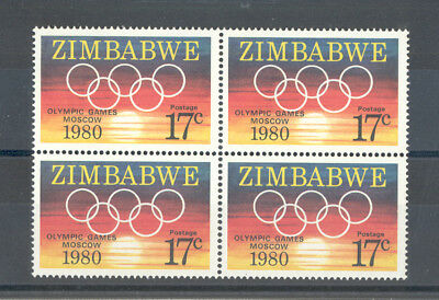 """Zimbabwe - Block of four Stamps Year 1980 MNH** """"Olympic Games Moscow"""""""