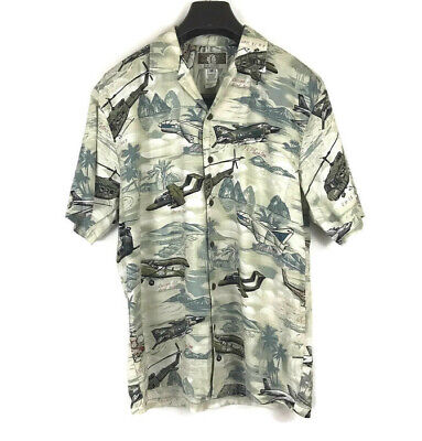072673b0 Kalaheo Men's Hawaiian Shirt Airplanes Bombers WWII USA Hawaii Size Medium