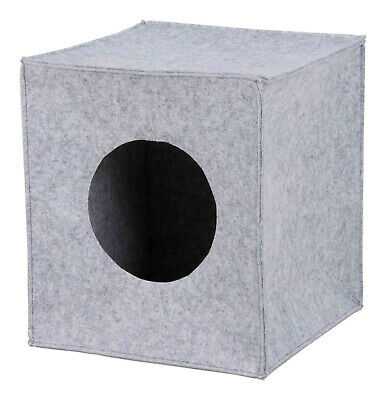 Trixie Anton Cuddly Cave Square Cube Folding Cat Bed for Shelves in Grey Felt