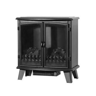 Dual Door LED Electric Fireplace Heater Portable Wood Fire Log Flame Effect
