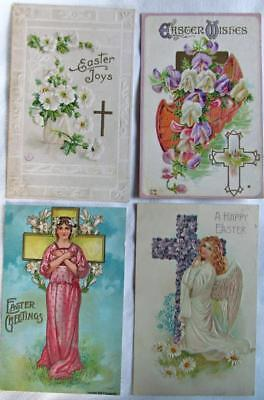 Lot of 4 Vintage 1908 Religious Cross EASTER GREETINGS postcards #70-m