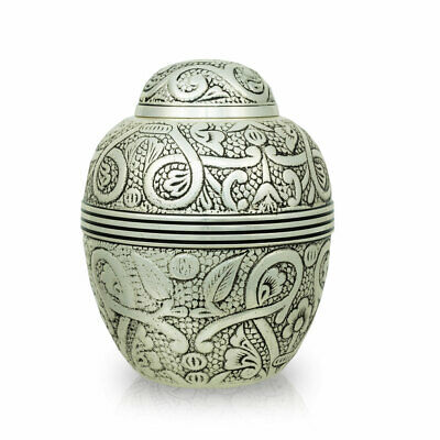 Embossed Bronze Pet Cremation Urn for Ashes - Small  Silver