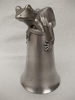 8 / Vintage Pewter Stirrup Cup With Frog Shaped Base